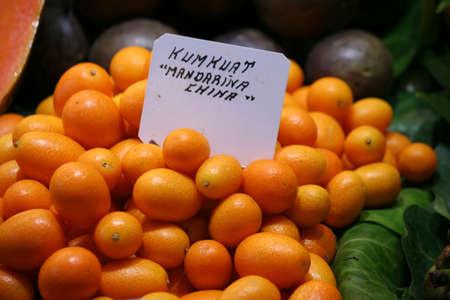 cumquat: cumquat kumkuat Fortunella margareta  - exotic fruits sale at the local market