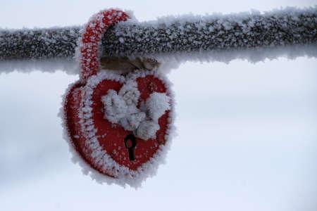 frozen heart-shaped lock, symbol of love photo