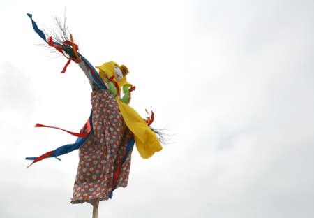 maslenitsa: Effigy Maslenitsa before burning  Maslenitsa - traditional celebration in Russia   Stock Photo