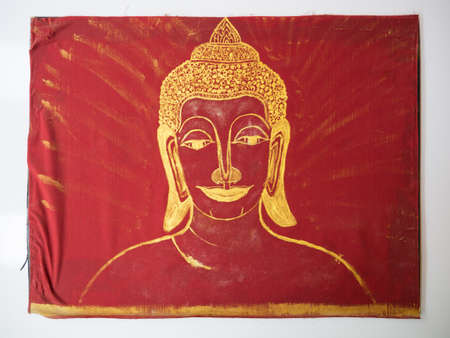 buddha face drawing on the fabric photo