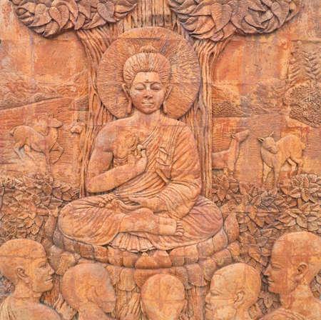 preach: buddha preach for follower, buddha carving in thailand temple Stock Photo