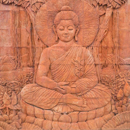 buddha enlighten carving in thailand temple