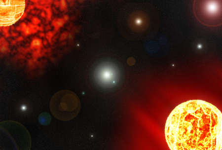 nibiru in space: two solar planet and cosmic clound  in deep space Stock Photo