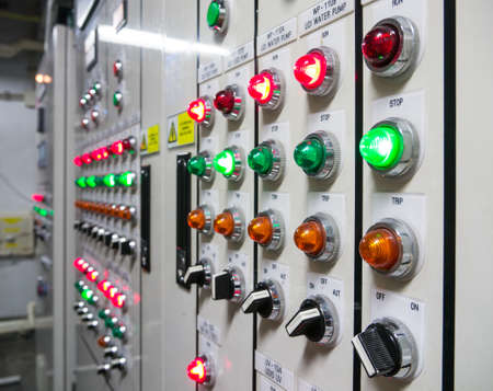 control panel lights: The control panel to manage water pump machine Stock Photo