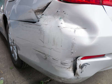 accident: damage on the car rear bumper