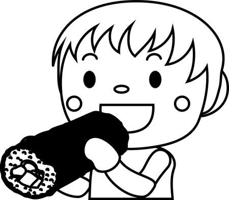 This is an illustration of a person eating Sushi roll called Ehomaki.