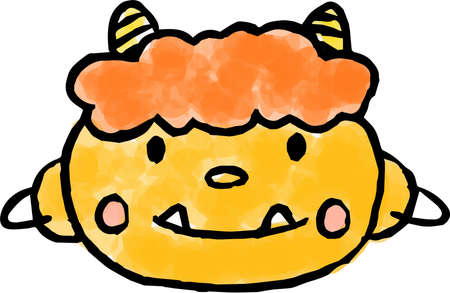 This is an illustration of a HND-pinted Japanese demon.  イラスト・ベクター素材