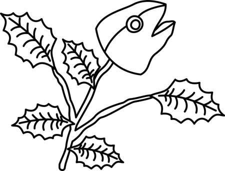 This is an illustration of a Japanese amulet called Iwashihiiragi. Illustration