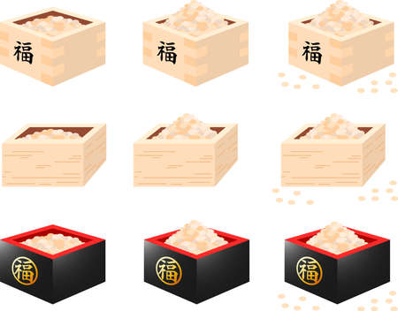 This is an illustration of a box containing soybeans used for Japanese events called Setsubun. Banque d'images - 116078456