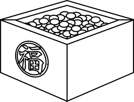 This is an illustration of a box containing soybeans used for Japanese events called Setsubun. Фото со стока - 116078483