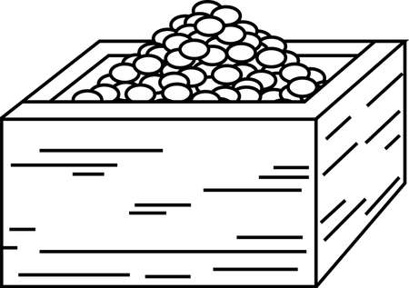 This is an illustration of a box containing soybeans used for Japanese events called Setsubun. Фото со стока - 116078486