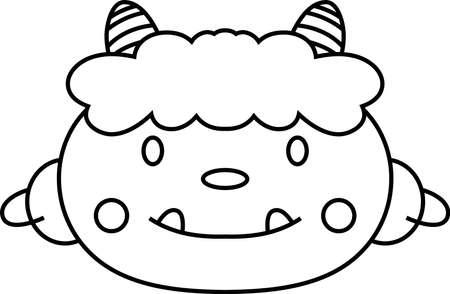 Ceci est une illustration d'un démon qui apparaît dans un événement japonais appelé Setsubun.