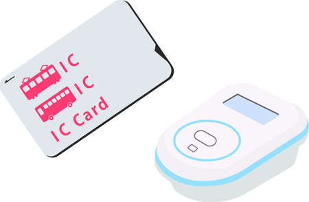 This is an illustration of the electronic money payment by transportaton IC card.