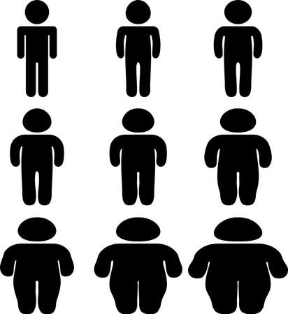 This is a silhouette icon of a person on a diet. Illustration