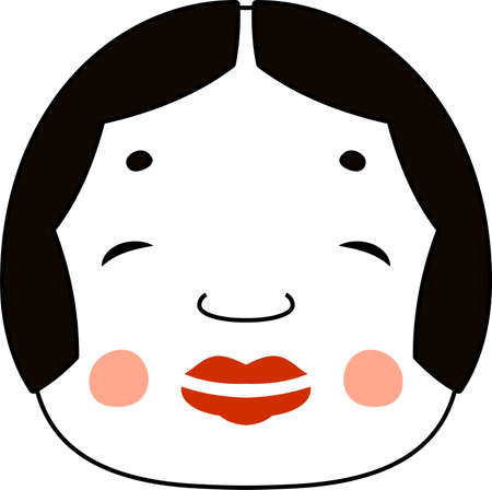 This is an illustration of the goddess of fortune of Japan. Illustration