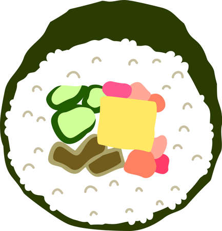 This is an illustration of Sushi roll called Ehomaki.