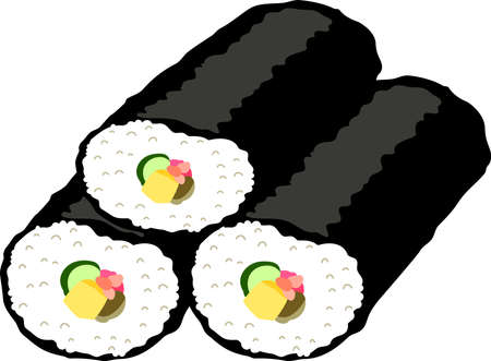 This is an illustration of Sushi roll called Ehomaki. Ilustração