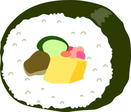 This is an illustration of Sushi roll called Ehomaki. Illustration