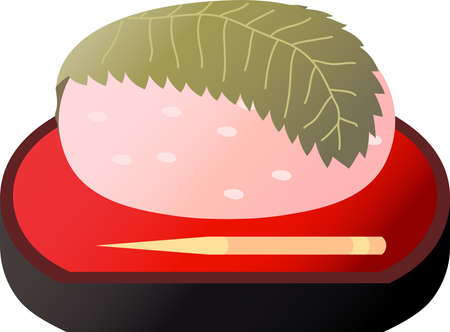 This is an illustration of rice sweets in Japan called Sakura - mochi. Иллюстрация