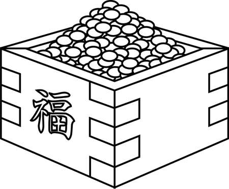 This is an illustration of a box containing soybeans used for Japanese events called Setsubun. Фото со стока - 116132796