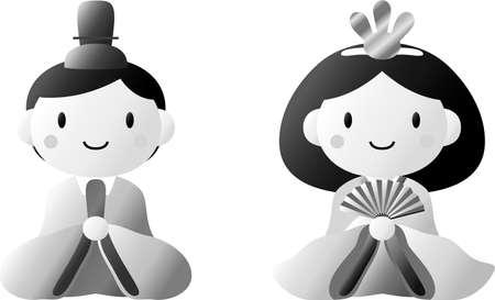 This is dolls used in Japanese festivals called Hinamatsuri. Vektorové ilustrace