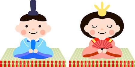 This is dolls and tatami used in Japanese festivals called Hinamatsuri. Stock Illustratie
