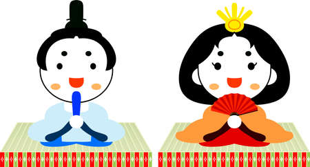 This is dolls and tatami used in Japanese festivals called Hinamatsuri. Illustration