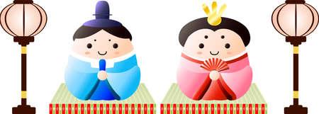 Se trata de muñecos, tatami y linterna de papel que se utilizan en los festivales japoneses llamados Hinamatsuri.