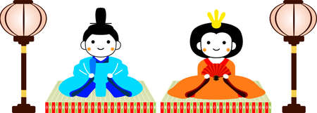 This is dolls and tatami and Paper lantern used in Japanese festivals called Hinamatsuri.