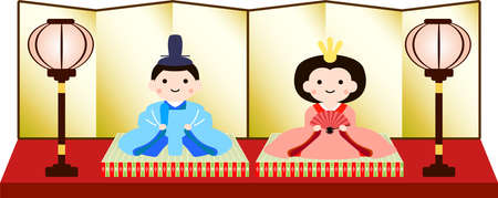 This is Gorgeous dolls used in Japanese festivals called Hinamatsuri. Ilustración de vector