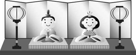 Se trata de muñecas preciosas utilizadas en festivales japoneses llamados Hinamatsuri. Ilustración de vector