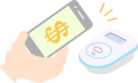 This is an illustration of the electronic money payment by Smartphone.