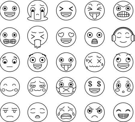 Questa è un'illustrazione dell'espressione del viso pop. Vettoriali