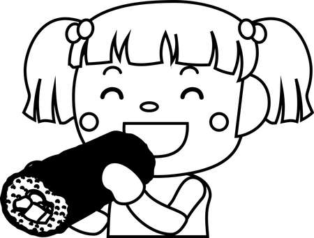 This is an illustration of a person eating Sushi roll called Eho Roll.