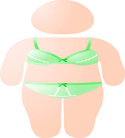 This is an illustration icon of a lady in underwear on a diet.
