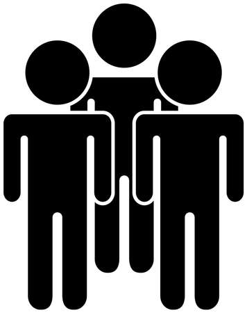 This is a silhouette icon of people of various races to line up.