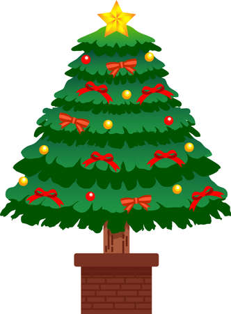 This is an illustration of a big Christmas tree in luxury. Ilustrace