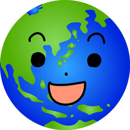 This is the character icon of the earth expressing emotions.