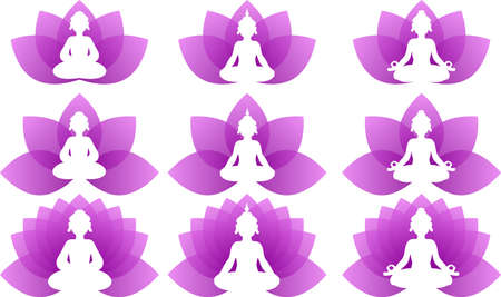 This is a logo illustration of Buddha who is doing yoga.  イラスト・ベクター素材