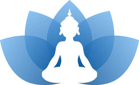 This is a logo illustration of Buddha who is doing yoga. Иллюстрация