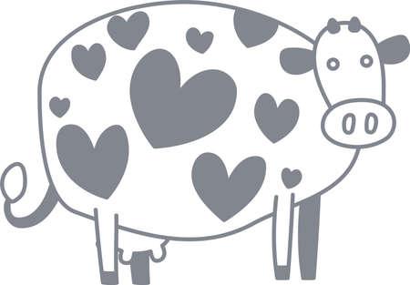 C'est une illustration d'une vache pop et mignonne.