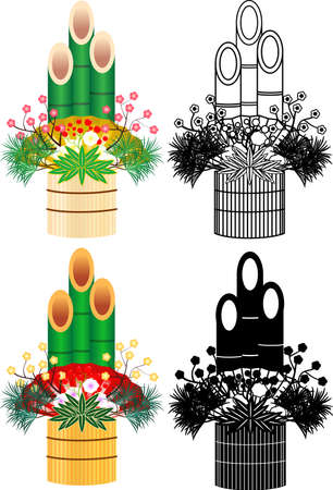 This is an illustration of Japanese New Year decoration called Kadomatsu. Иллюстрация
