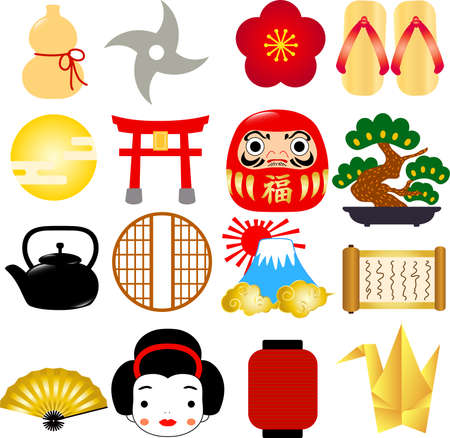 This is an illustration set of Japanese style images.