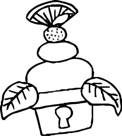 This is an illustration of a rice cake that can be eaten in the New Year called hand-drawn Kagami-mochi. Illustration