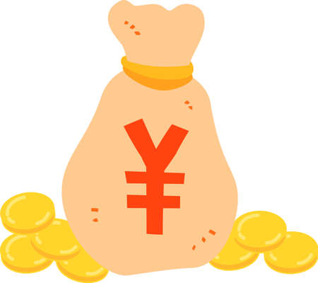 This is an illustration of a bag containing money.  イラスト・ベクター素材