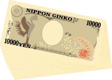 This is an illustration of a bundle of 10000 yen bills. Illustration