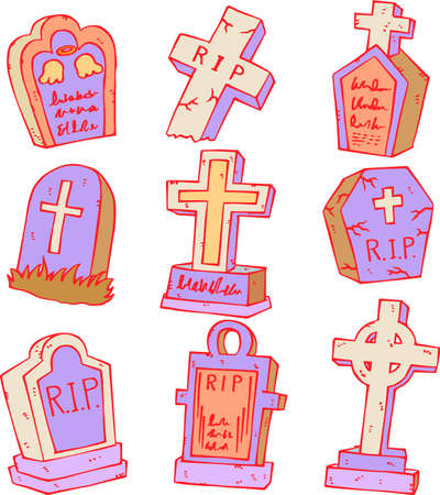 This is an illustration of a hand-drawn Western style grave.