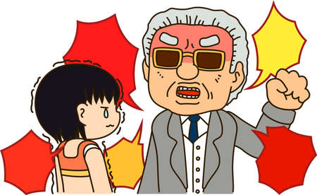 This is an illustration of a man who performs power harassment to athletes.  イラスト・ベクター素材