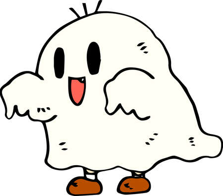 This is an illustration of a hand-painted Halloween ghost. Illustration