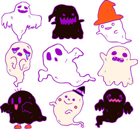 This is an illustration of a hand-painted Halloween ghost.
